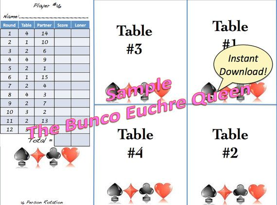 16 Person Euchre Rotation Score Sheet \/ by TheBuncoEuchreQueen - sample holdem odds chart template