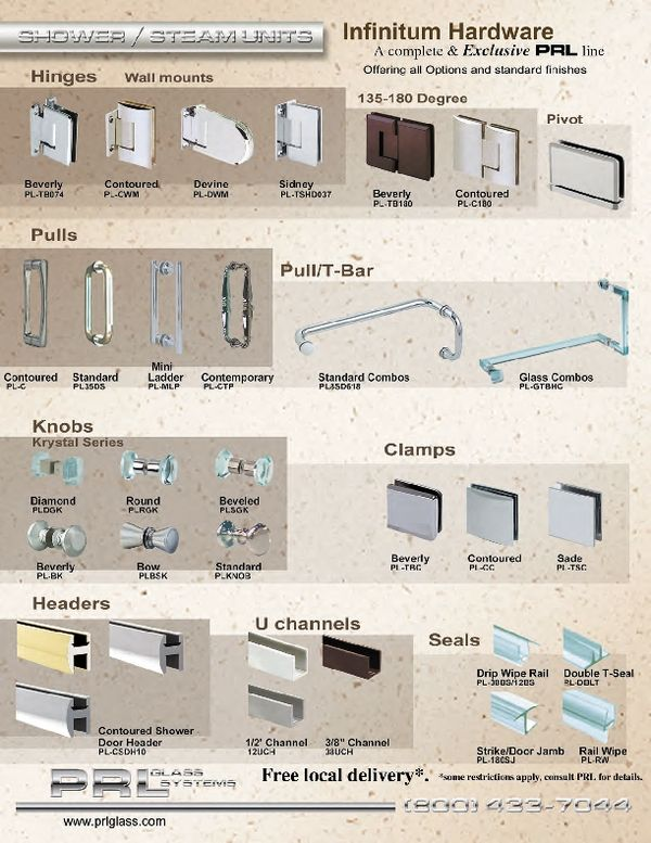 Complete Shower Door Hardware And Kits Including Shower Channels