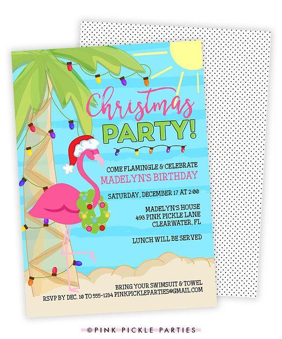 Christmas Flamingo Invitation Christmas In July Christmas
