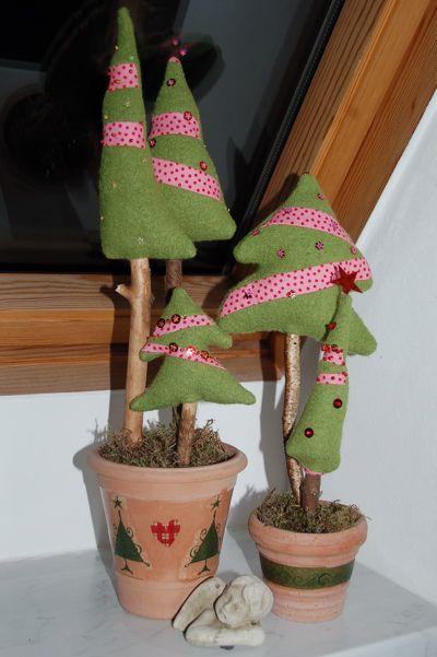 Tannenbäume, Tannenbaum, Patchwork Tannenbaum, mit Perlen bestickte Tannenbäume, Serviettentechnik