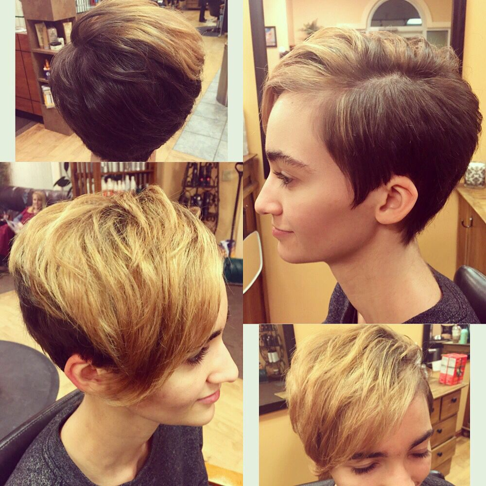 Pixie Haircut Shaved Sides Blonde Balayage Beauty For Chelsea