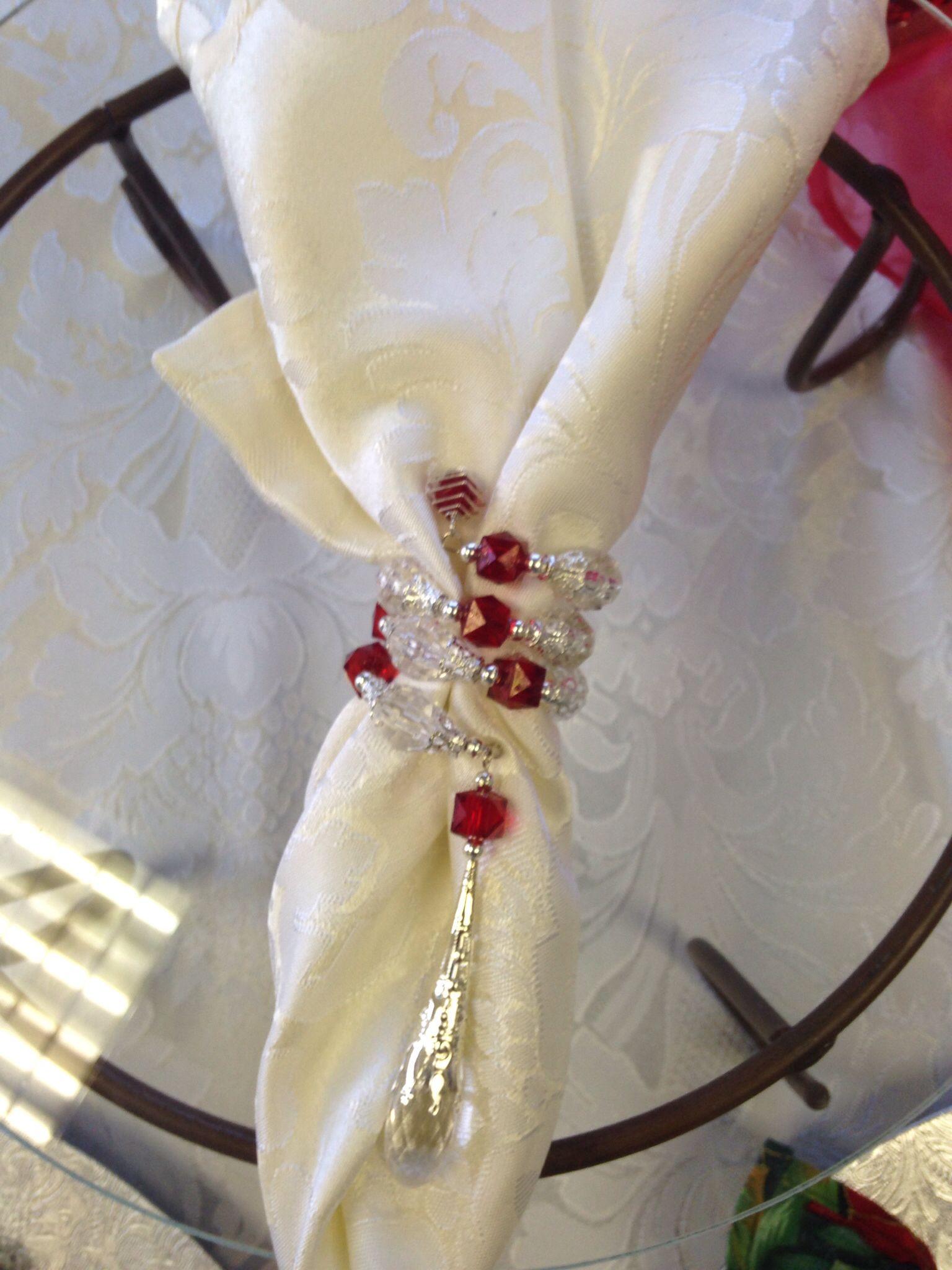 Handmade Beaded Napkin Rings And Napkin Christmas Decor