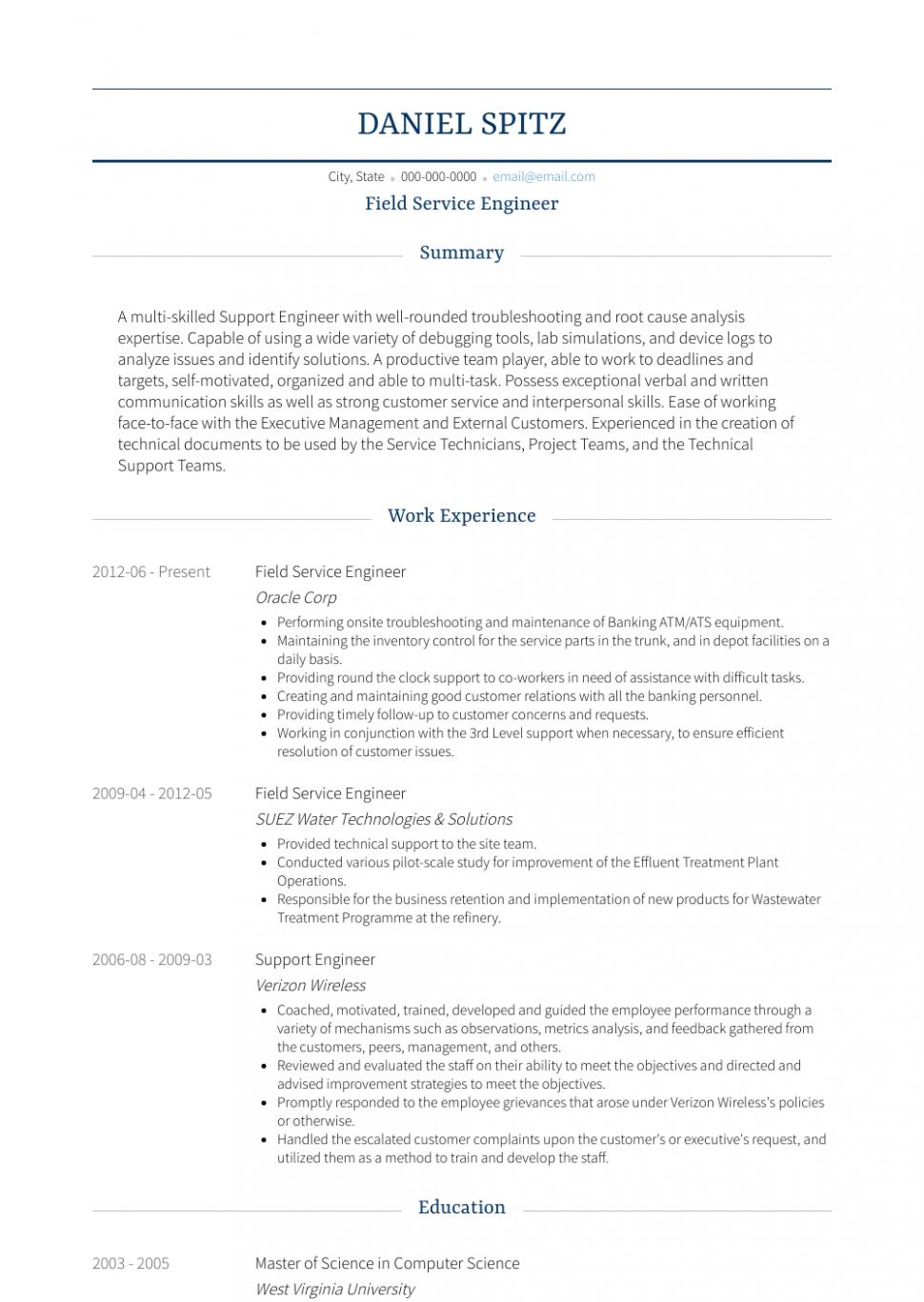 14 Area Engineer Resume