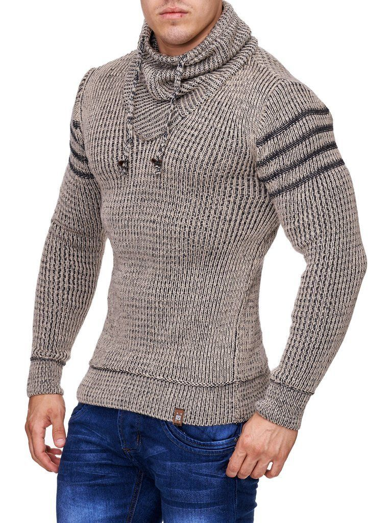 K&D Men Stylish 3 Lines Turtle Neck Sweater Beige | Men