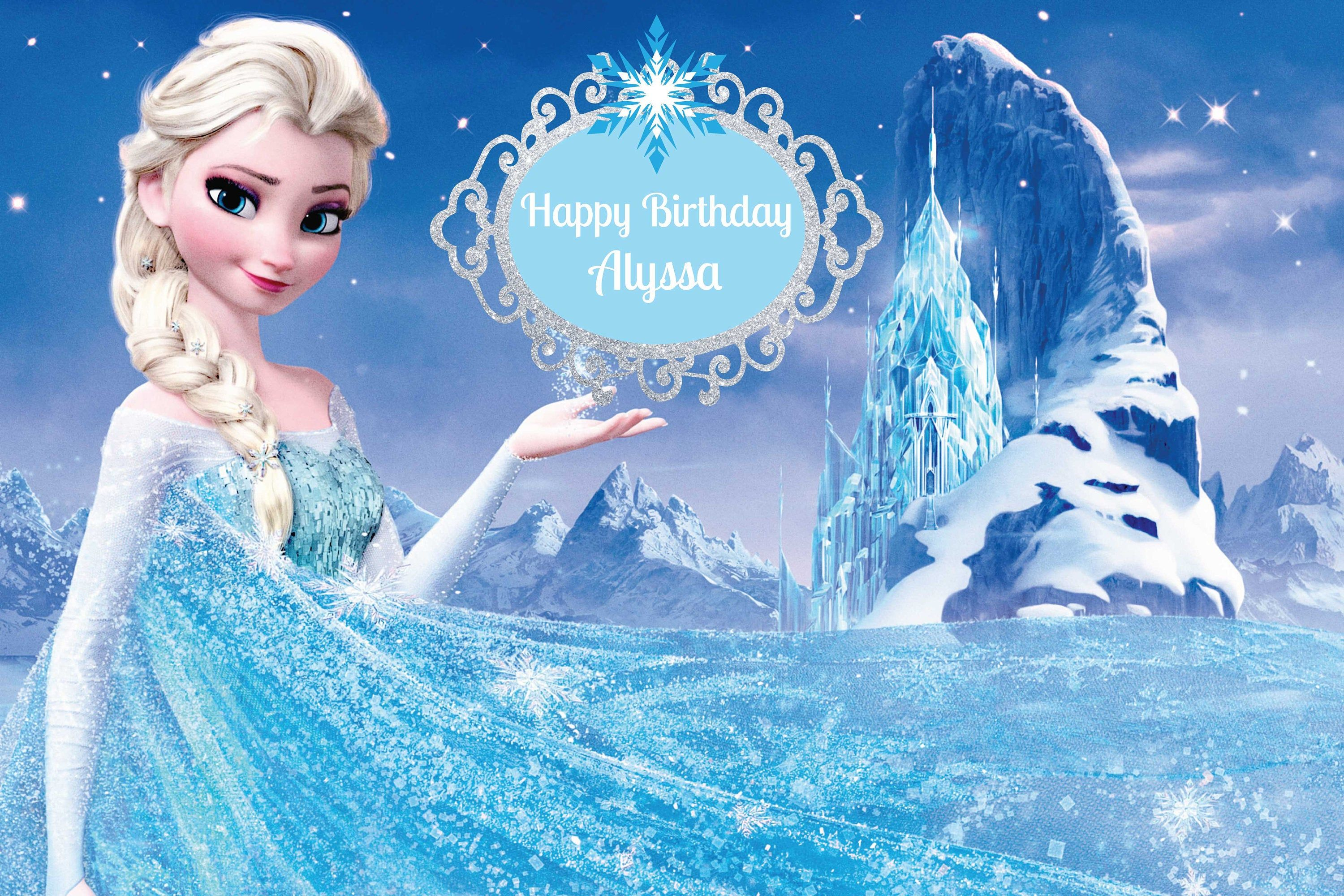 Printed Custom Frozen Inspired Birthday Party Backdrop Frozen
