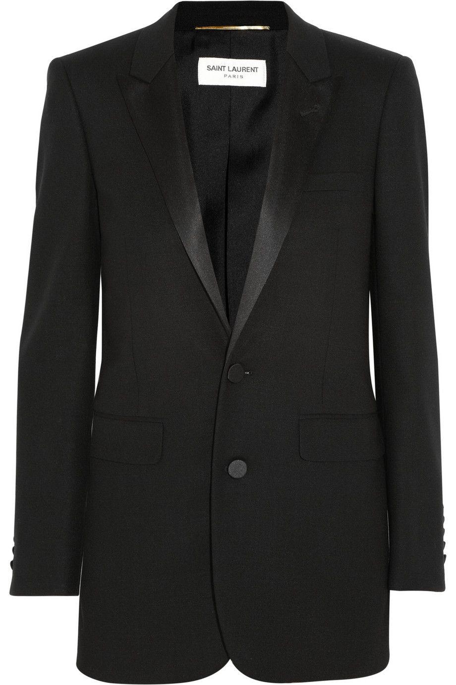 b84bce80611 Black grain de poudre wool jacket. Saint Laurent created the iconic 'Le  Smoking' tuxedo in 1966. Hedi Slimane's contemporary update on the blazer  has ...