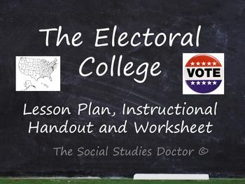 Electoral College 2020 Lesson Plan Reader Worksheet And Map