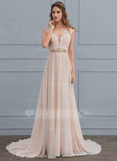 US$ 176.69] A-Line/Princess Scoop Neck Sweep Train Chiffon Wedding ...