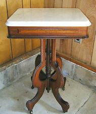 Antique Solid Walnut Victorian Marble Top Parlor Side End Table 1800u0027s