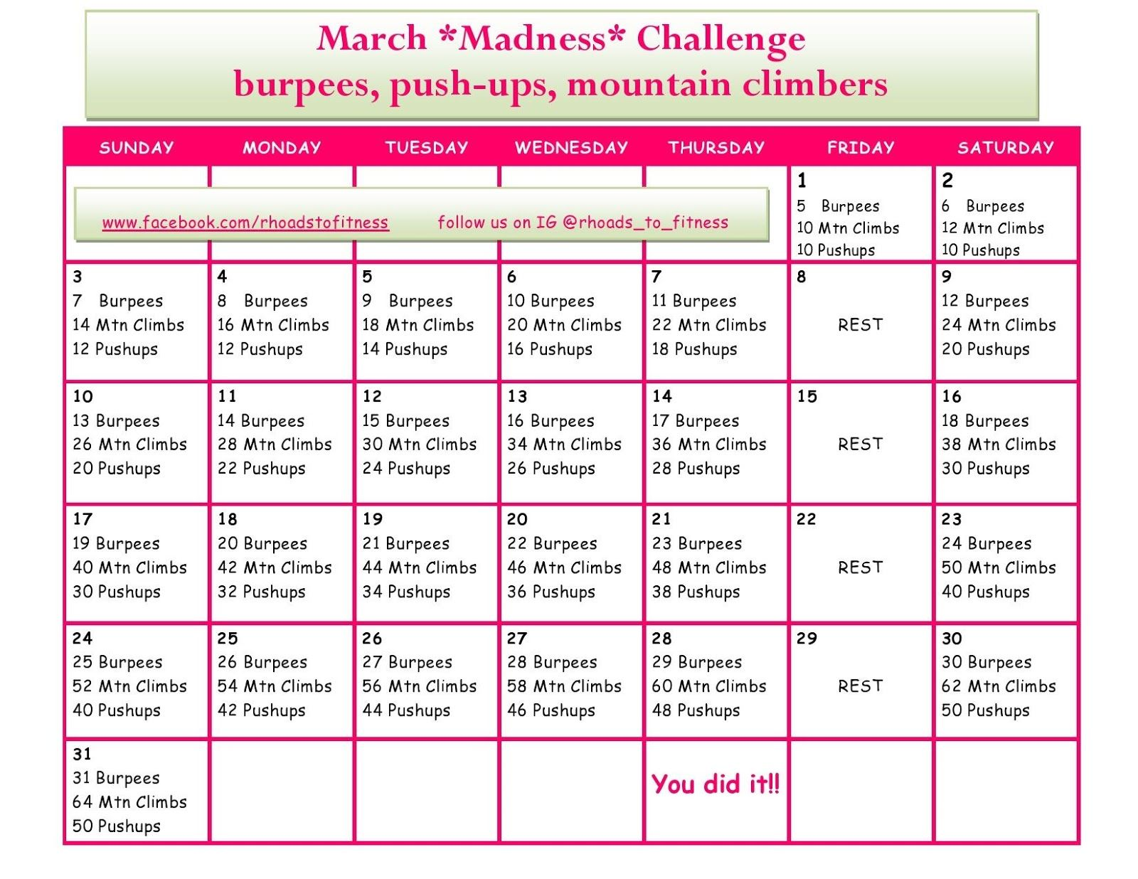 March Madness Fitness Challenge Month Workout Challenge Bikini Body Workout Plan