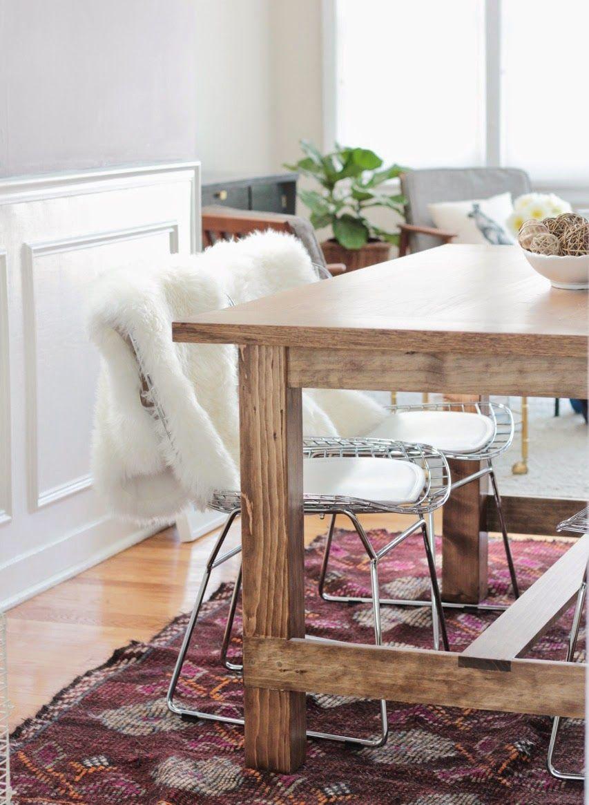 Vintage Kilim Rug Under DIY Farmhouse Dining Table Homedecor