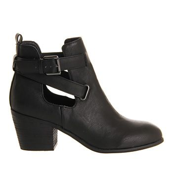 Office Blind Spot Cut Out Black Ankle Boots
