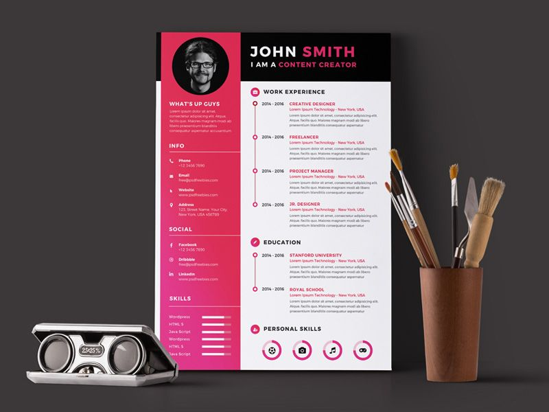 Free Timeline Resume Template in PSD File Format Free Resume