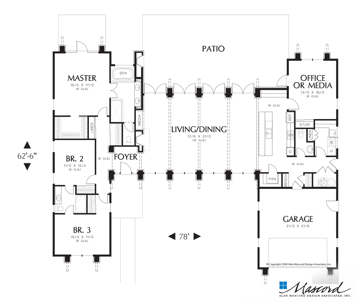 Main Floor Plan Of Mascord Plan 1240 The Hampton Surround Yourself With Natural Beau Contemporary House Plans Modern Style House Plans U Shaped House Plans