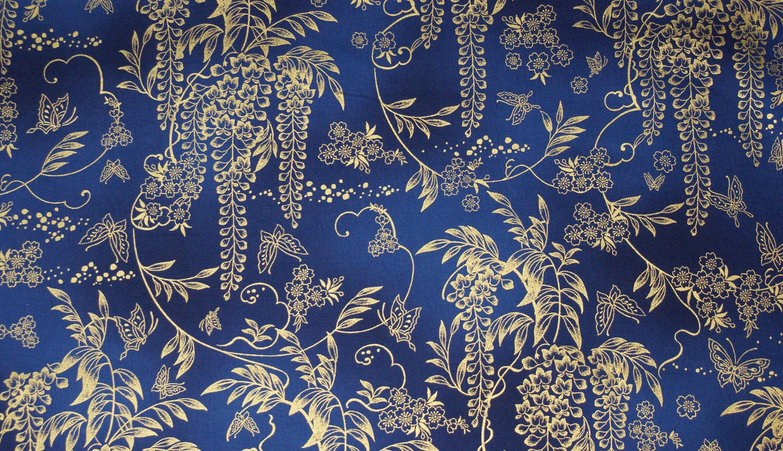 804b4856e6cfc Japanischer Blauregen (Goldregen) - Blumen Stoff mit goldenen Metallic Druck  Ein wunderschöner Baumwollstoff im