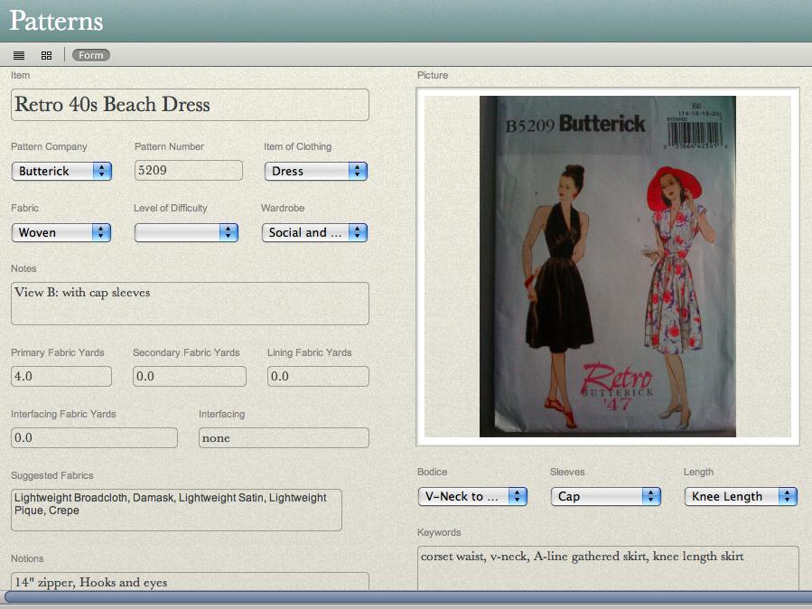 Bento Database - Sewing Pattern Organizer | Sewing room | Pinterest ...