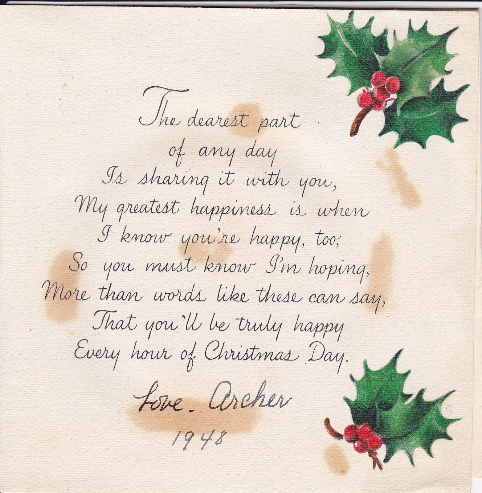 1948 Christmas Card Poem Christmas Card Verses Christmas Card