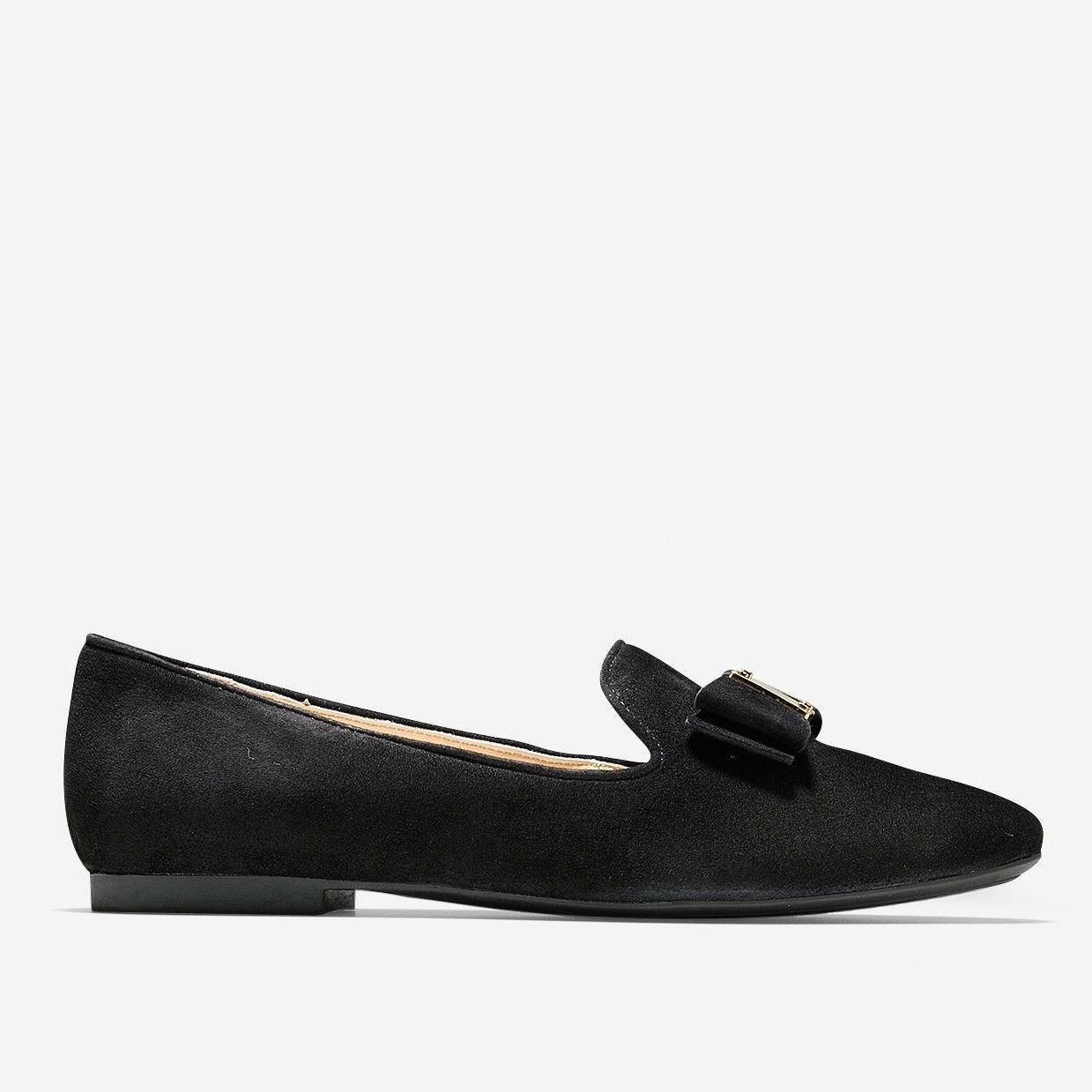 6c32dde1ee7 COLE HAAN Tali Bow Loafer - Black Suede.  colehaan  shoes