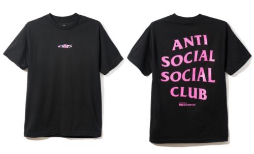 DS Anti Social Social Club ASSC Black Logo 488 Pink Hoodie In Hand Bape