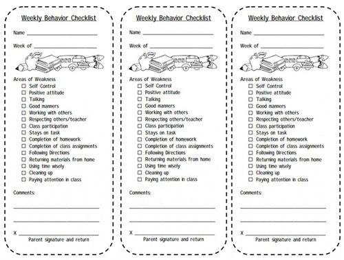 Print This Weekly Behavior Checklist For Students Balance Your