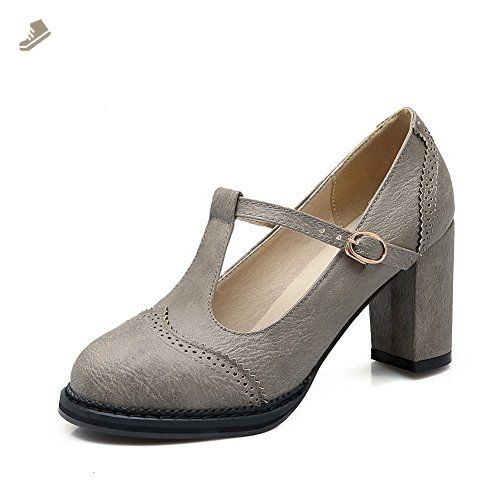 Girls Square Heels Round-Toe Nappa Pumps-Shoes