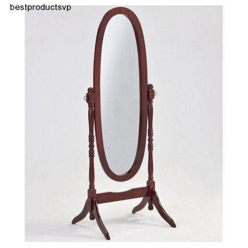 Ebay Wood Floor Mirror Full Length Cheval Standing Bedroom Cherry Frame Dressing Tilt