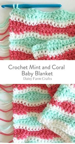 Free Pattern Crochet Mint And Coral Baby Blanket Yarn