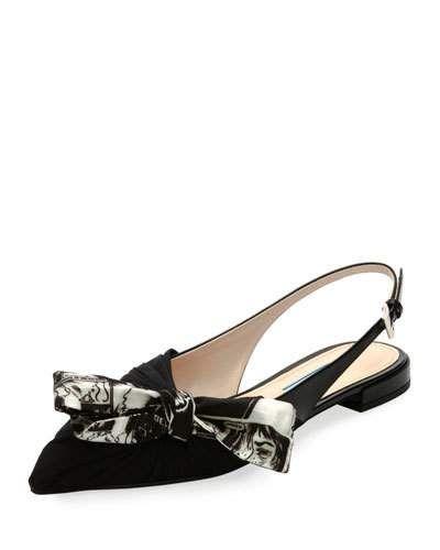 Prada Slingback bow sandals