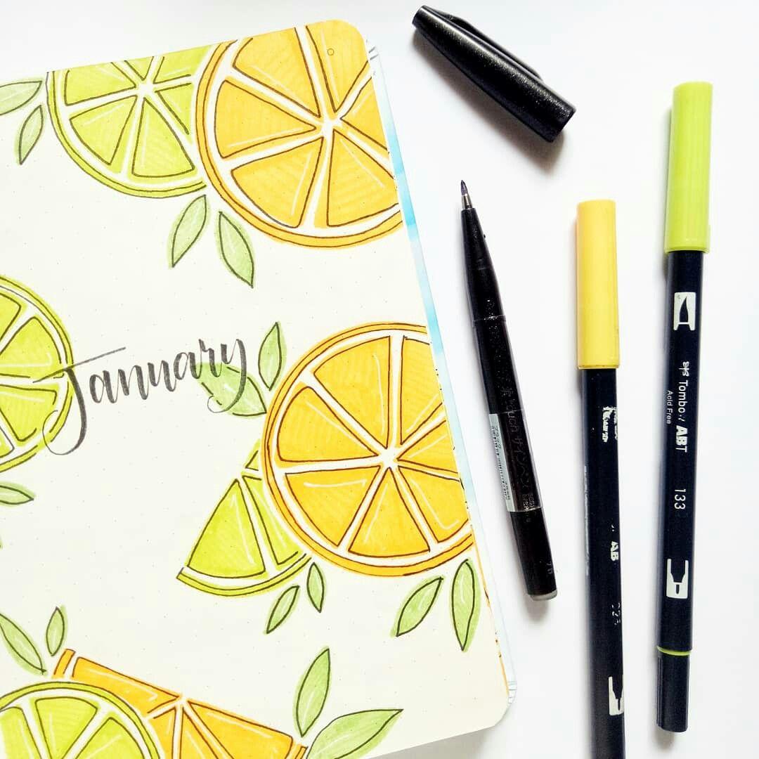 Citrus themed bullet journal cover!