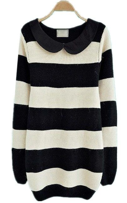 0b2bba9147 Black White Striped Long Sleeve Pullovers Sweater