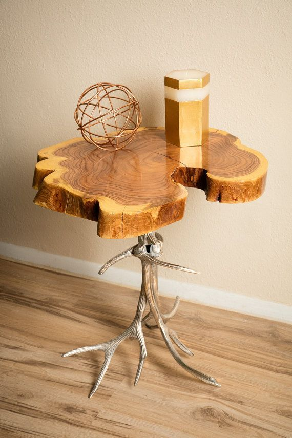This Rustic Chic Accent Table Is Made From A Polished Cast Metal