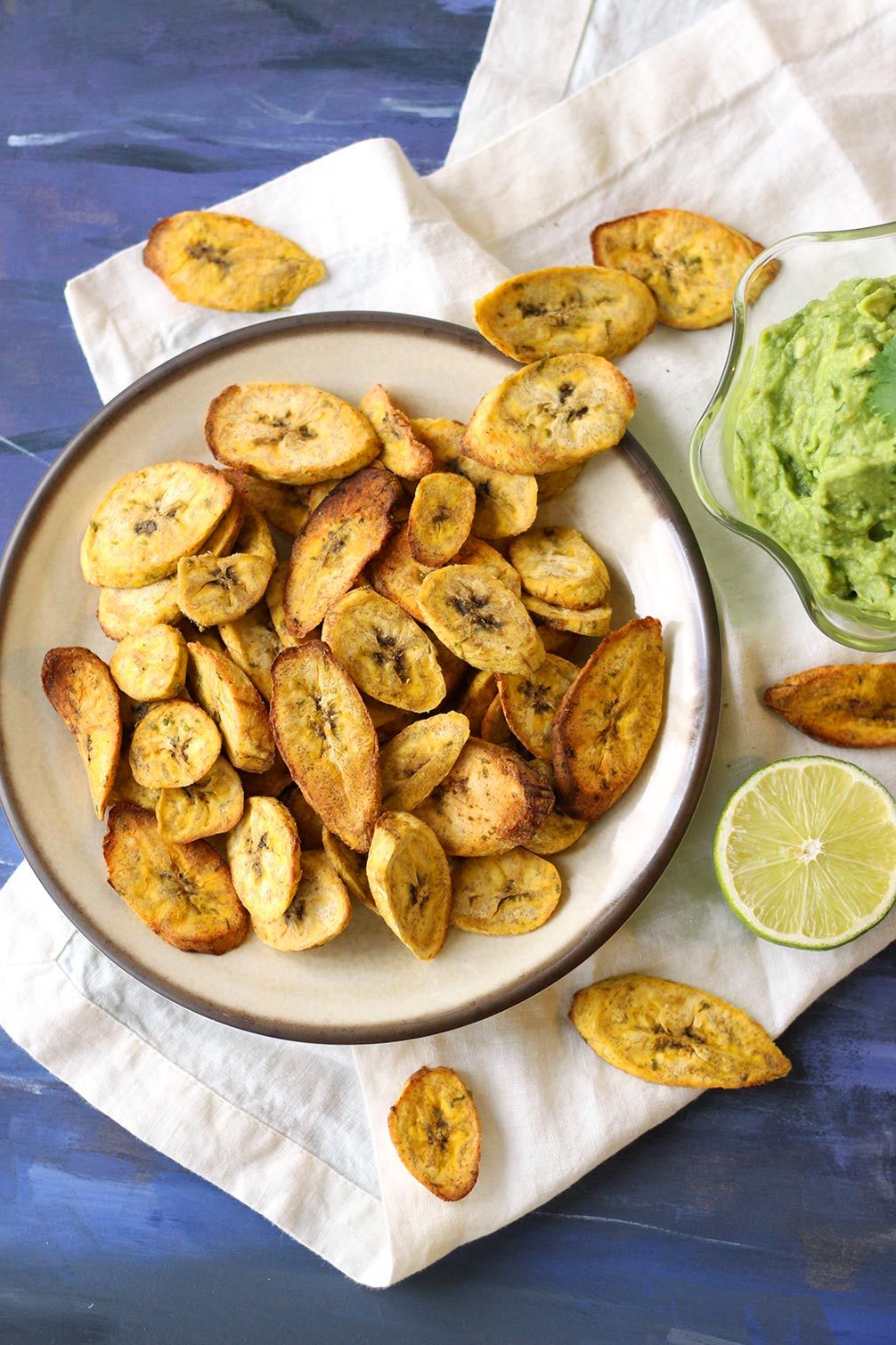 Air fryer Plantain Chips with Creamy Guacamole Recipe