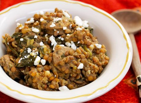 Slow-cooker-lentils-with-chicken-sausage-spinach-and-feta-cheese