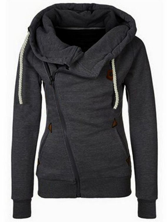 75fdbfcd19f Stylish And Trendy Womens Hoodies - Fabulous Fashion Style  Hooded Oblique Zipper  Loose Grey Sweatshirt