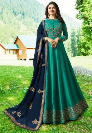 7d691855d7 Embroidered Art Silk Abaya Style Suit in Teal Green | husan in 2019 ...