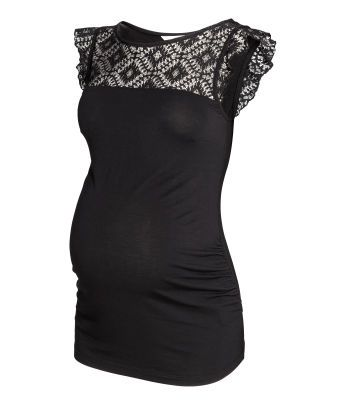 MAMA top with Ruffled Sleeves   Maternity Wear   Tops   H&M US - super cute!