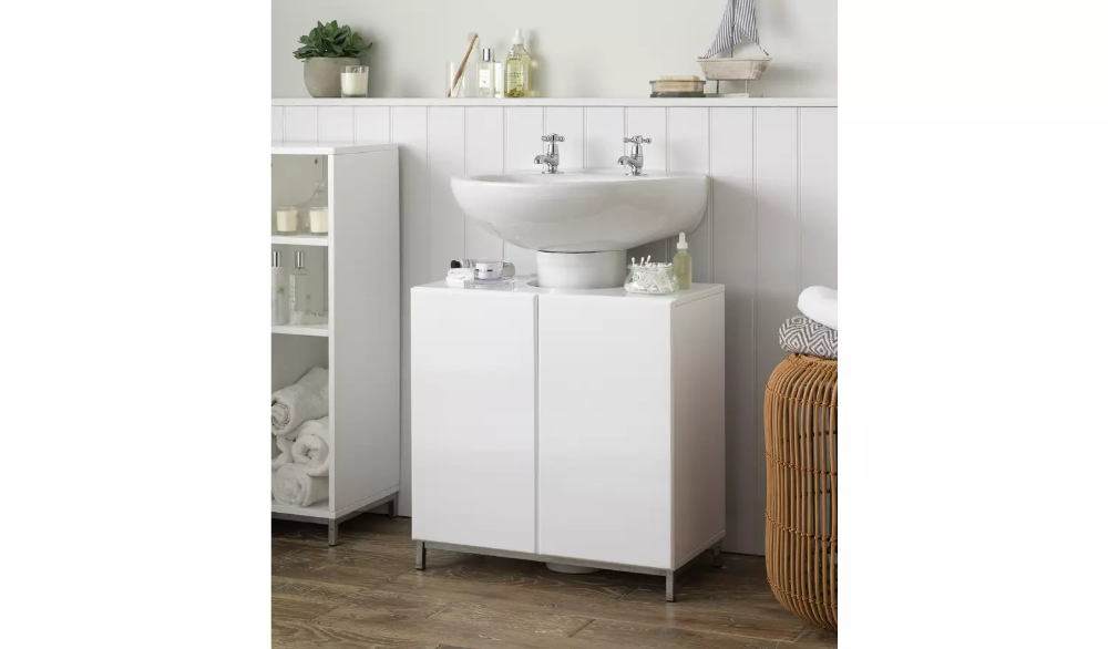 White Gloss Under Sink Bathroom Cabinet, Argos Home Gloss Bathroom Floor Cabinet White