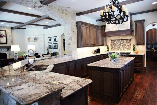 Dark Wood Country Kitchen rustic kitchen decor dark wood cabinets delicatus granite