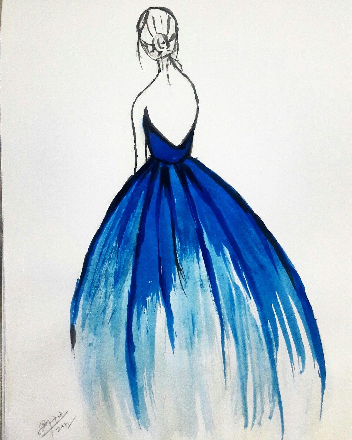 simplepainting girl back pose blue gown rashmi arts
