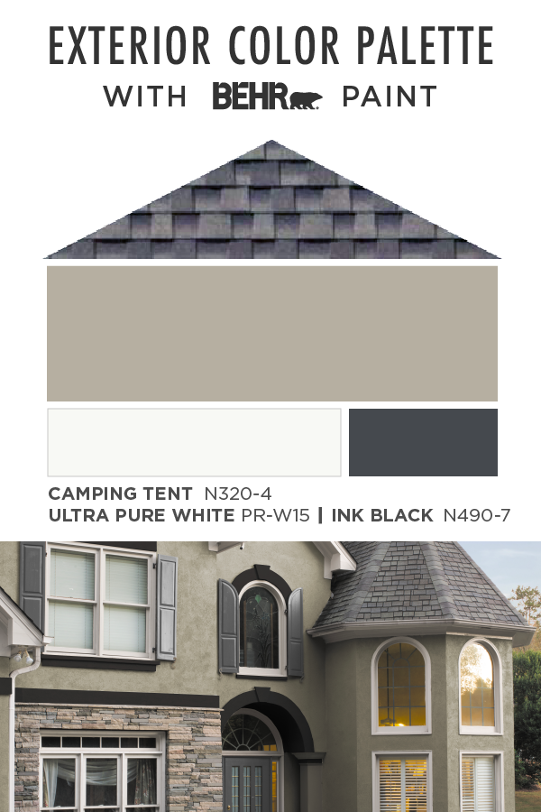 Sure To Give Your Home A Major Style Upgrade This Exterior Color Palette From Beh Exterior Paint Colors For House Exterior Color Palette Exterior House Colors