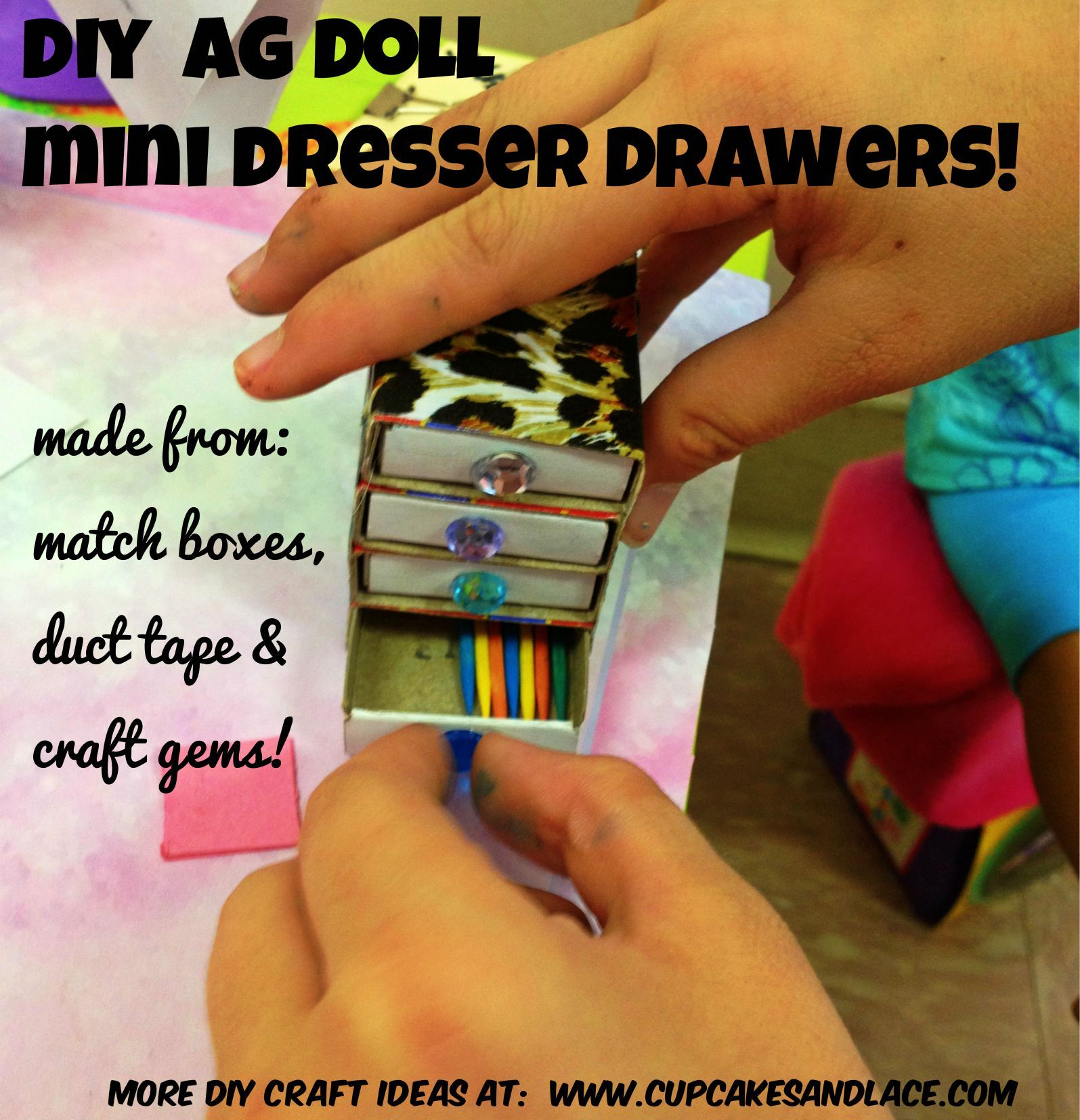 Diy 18 39 39 ag doll mini dresser drawers make it with mini for Mini duct tape crafts