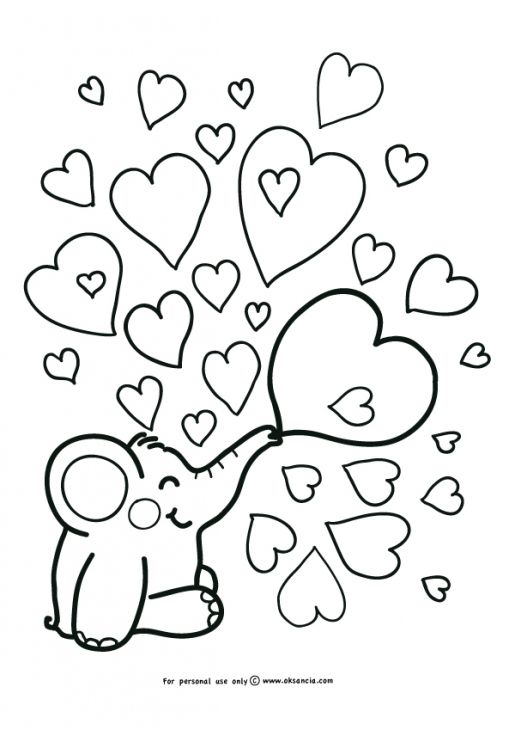 Simple Elephant And Heart Doodle Coloring Page For Kindergarten