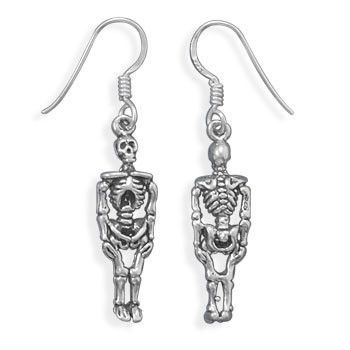 Oxidized Sterling Silver Skeleton Earrings