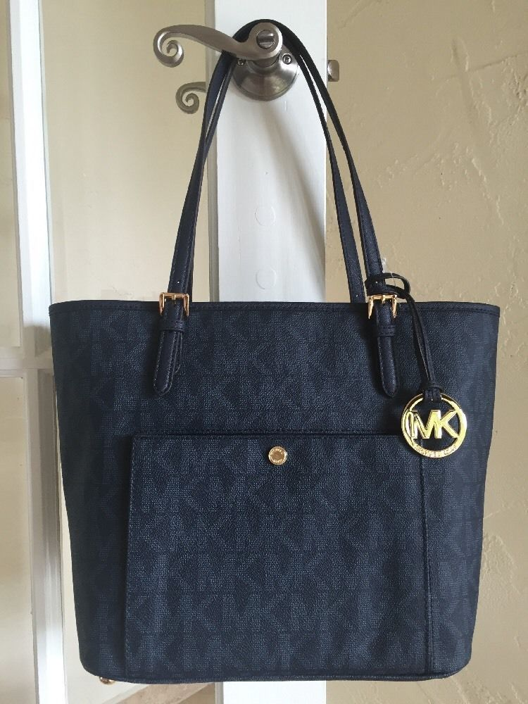 Michael Kors Jet Set Large Snap Pocket Tote Baltic Blue Signature MK