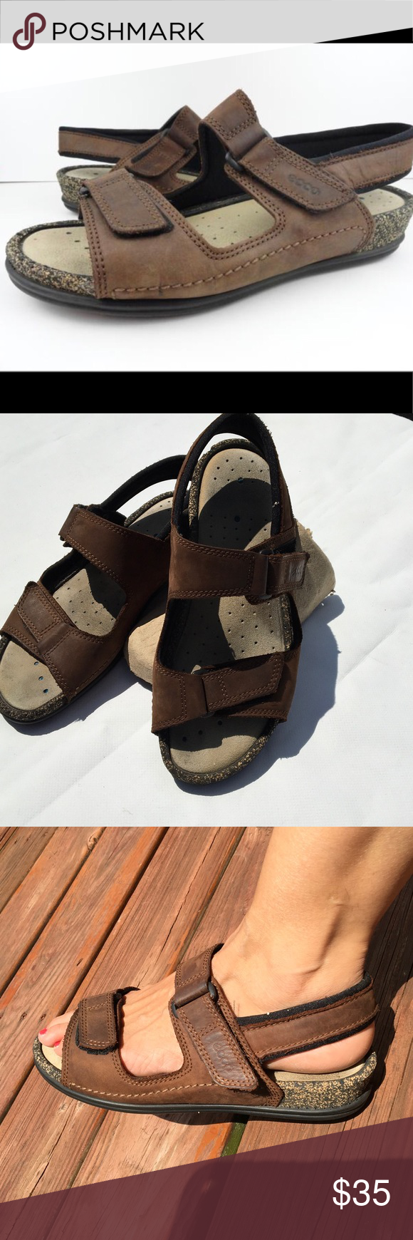 57f8c6ad44b4 Ecco leather cork sandal sz39 Ecco cork heel Sandal oil leather ...
