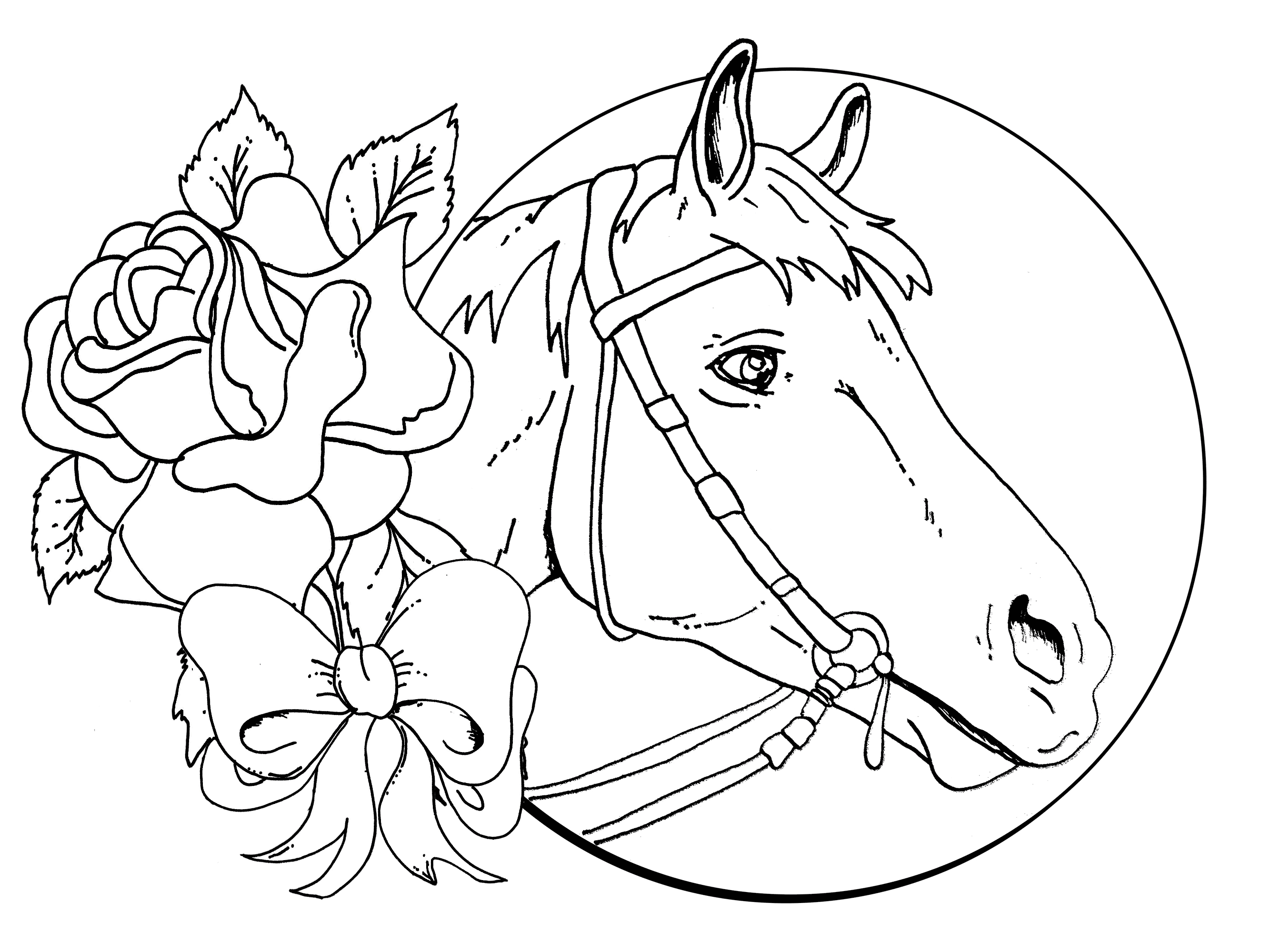 Detailed Christmas Coloring Pages Download Horse Coloring
