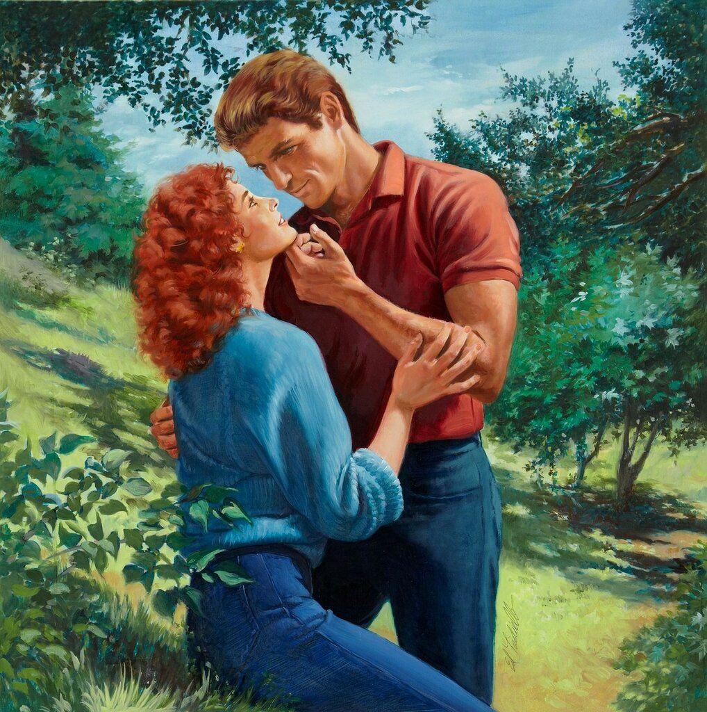 Открытка романтика, рисунок мужчины и женщины