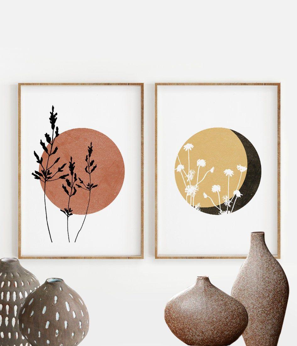 Boho Sun and Moon Print Set of 2, Floral Terracotta Sun, Wild Flowers desert moon, Abstract Minimal wall art, Boho decor, Digital Art