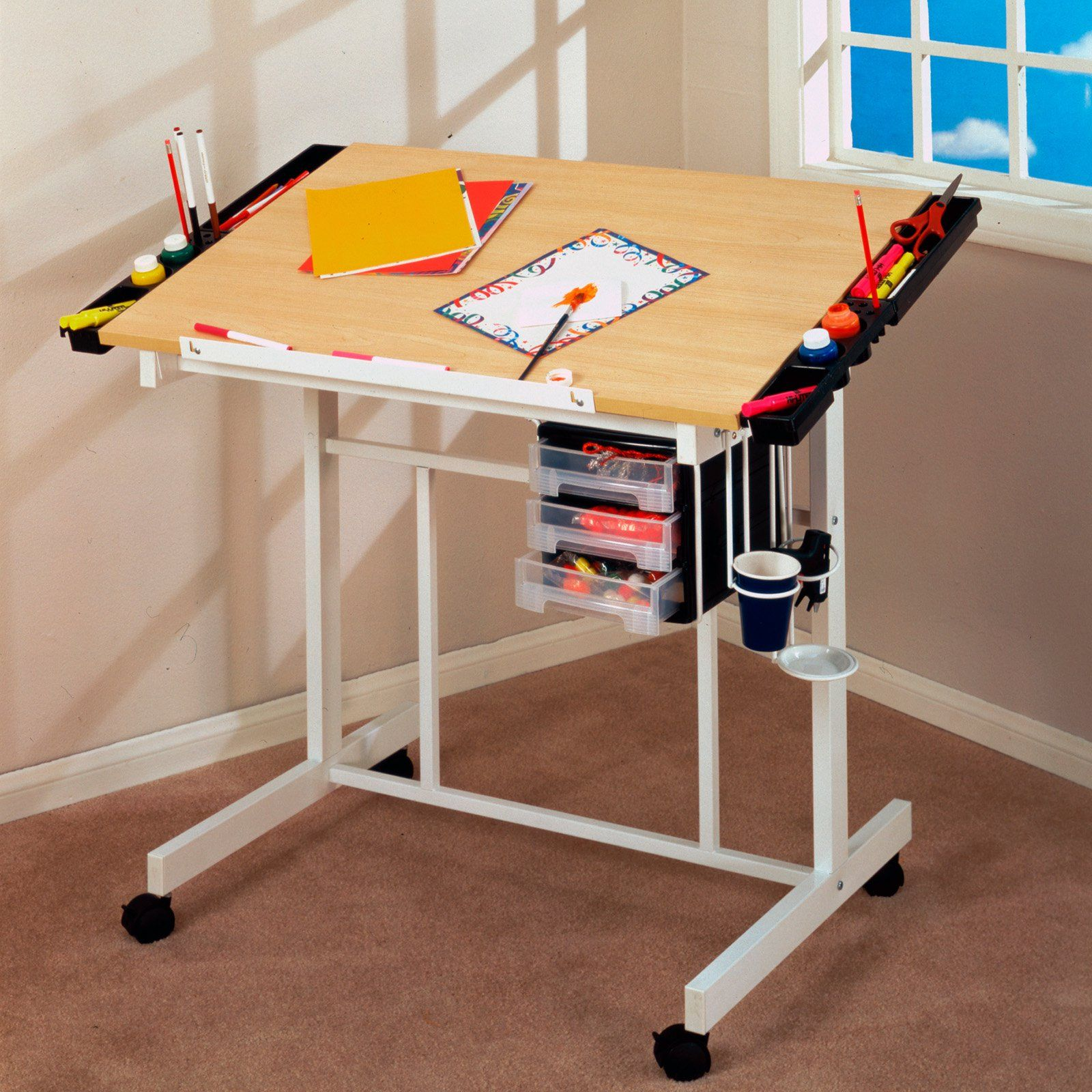 Studio Designs Deluxe Rolling Drafting Table Station   $123.71 @hayneedle