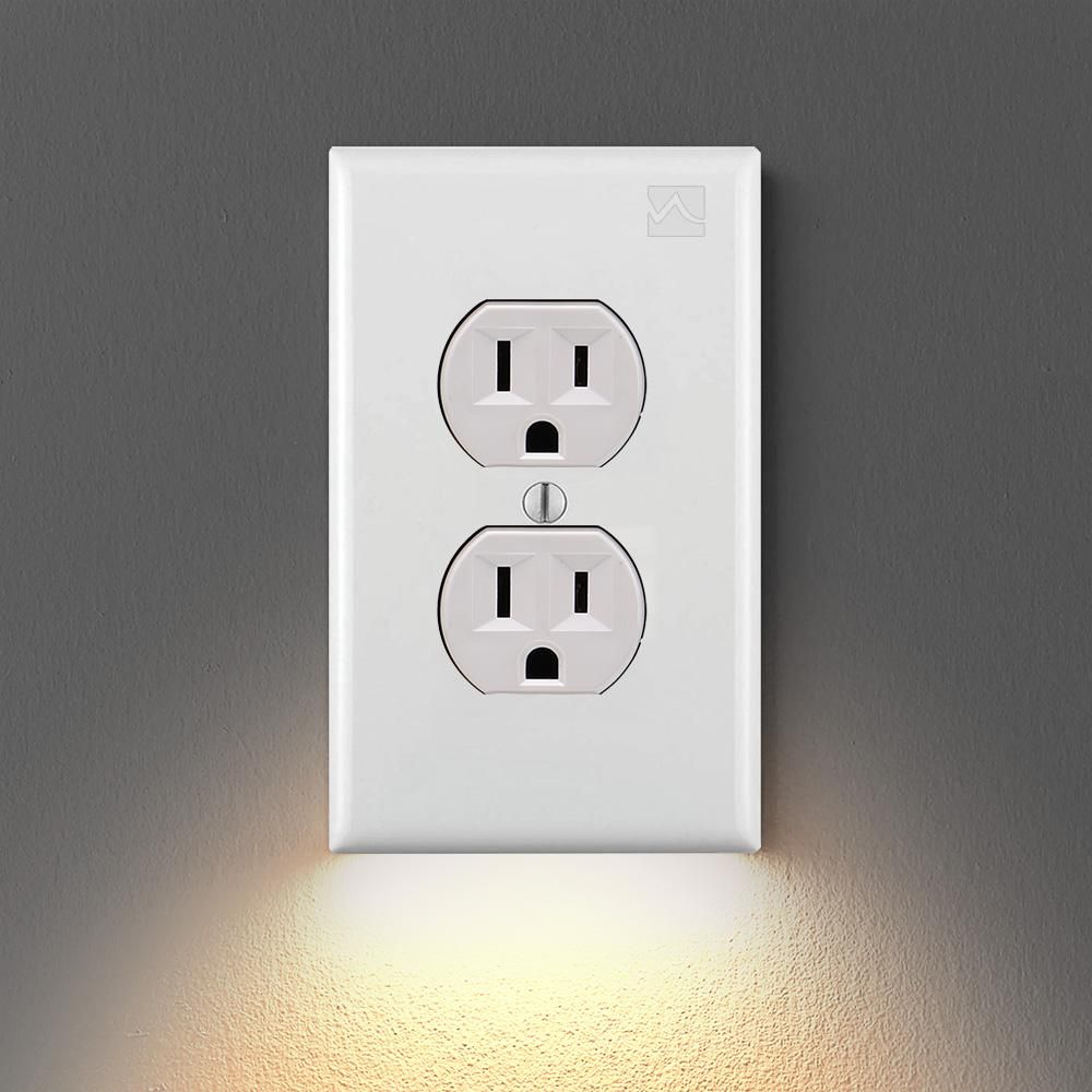 Outlet Wall Plate With Led Night Lights No Batteries Or Wires Ul